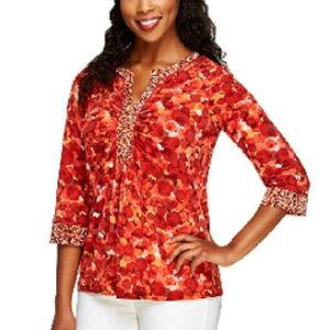 NEW Liquid Knit Printed Top with Ruched Neckline